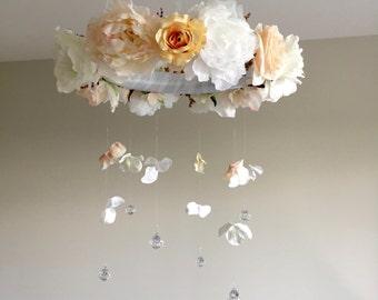 Custom Floral Mobile, Baby Mobile, Crib Mobile, Rose Mobile, Peach Nursery Decor, Shabby Chic Nursery, Nursery Decorations, Floral Nursery
