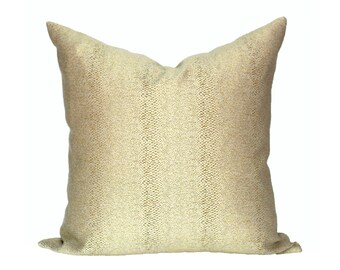 READY TO SHIP - 20x20 Glossy Slither Gold desginer pillow cover