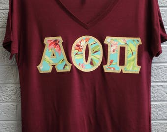 Alpha Omicron Pi Maroon Bella Flowy V-Neck With Amy Butler Bliss Bouquet on Gold Metallic (254C)