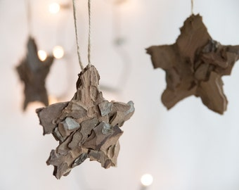 Christmas ornaments - Rustic star ornaments - Natural Christmas ornaments  - Christmas tree ornaments - Wedding favors