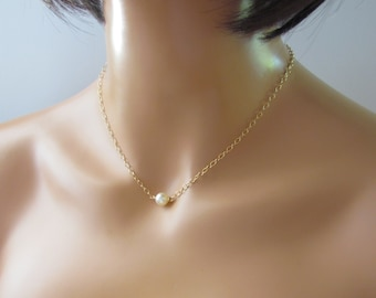 Single Pearl Necklace in Gold, Simple Pearl Necklace, Solitaire Ivory Pearl Necklace, Bridesmaid, Gold Filled Handmade Bridal Jewelry