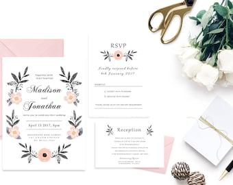 Blush Boho Wedding Invitation, Printable Floral Wedding Invitations, Peach Floral Wedding Invitations Template, DIY Wedding Invitation