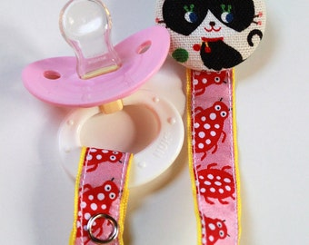 Special Cat with Ladybugs.......PACIFIER CLIP