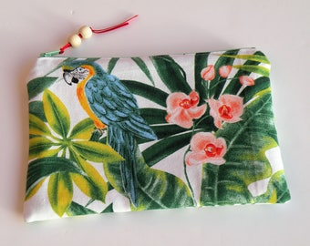 Zippered flat bag, make-up storage of papers, tropical green
