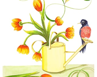 Spring Tulips Watercolor Illustration