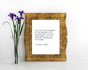 Charles Darwin evolution quote Science quote Biology quote gift for teacher science art darwin quote origin of species digital print species