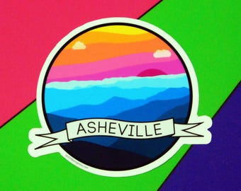 "Asheville 3"" Laminated Vinyl Sticker - Sunset In The Mountains"