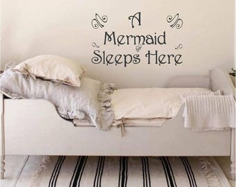 A Mermaid Sleeps Here Wall Art Words, Vinyl Lettering Decals, Kids, Wall Decal. Nursery Wall Decal. Vinyl Sticker Decals, Baby Girl Room