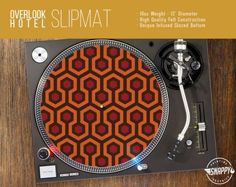 "Overlook Hotel Pattern Turntable Slipmat - 12"" LP Record Player, DJ Slipmat- 16oz Felt w/ Glazed Bottom"