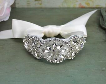 Crystal Bridal Cuff Bracelet, Rhinestone Wedding Cuff, Jeweled Silver Wedding Cuff, Prom Bridesmaid Gift, CU-008