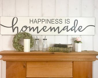kitchen wood sign happiness is homemade rustic wood sign kitchen wall decor - Kitchen Wall Decor