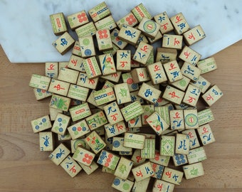 Lot of Vintage Wooden Mah Jong Tiles, Mah Jongg Game Pieces for Crafting, c 1920's