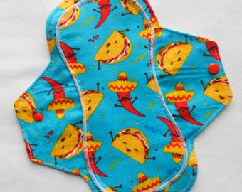 Menstrual Flannel Maxi Pad - 9.5 inch Reusable Eco Friendly Cotton Mama Cloths - Peacock Blue Fiesta Happy Tacos Chili Peppers