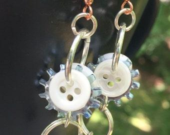 White button earrings, industrial earrings, edgy earrings, urban earrings, hardware earrings