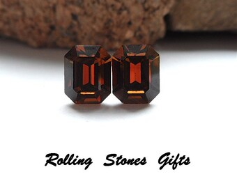 10x8mm Smoked Topaz Octagon Swarovski Rhinestone Stud Earrings-Smoked Topaz Crystal Studs-Brown Octagon Rhinestone Studs