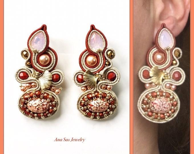 Statement Swarovski Soutache earrings