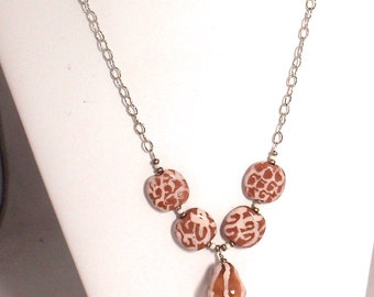 Chestnut Brown and Cream Animal Pattern Kazuri Ceramic Bead Necklace