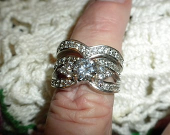 Vintage man made diamond wedding ring set 925 Silver Rhodium