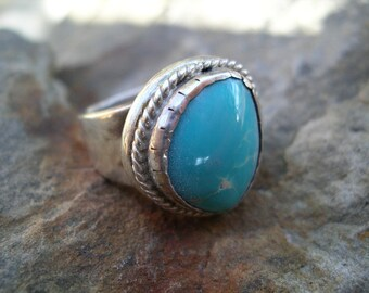 Gents Sterling Silver and Turquoise Ring RF138