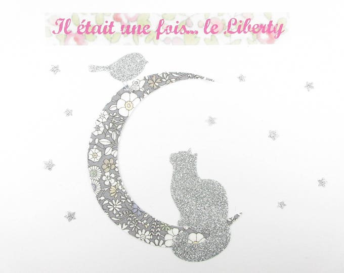 Applied fusing cat in the Moonlight and June's Meadow liberty gray bird & glitter flex fusible cat motifs liberty patch