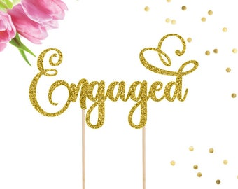 Engaged Cake Topper, Engagement Party, Wedding, Cake Topper, Wedding Cake Topper, Wedding Cake, Bridal Shower, Engagement Decor, Engaged