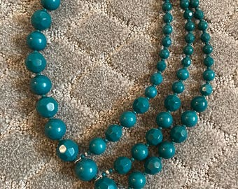 Asymmetric Teal Blue Beaded Necklace, Multi-Strand Necklace