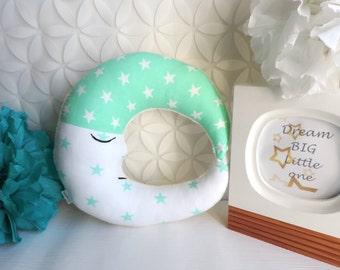 Mint Moon Pillow - Moon Cushion - Nursery Pillow - Kids Room Pillow - Decorative Pillow - Boys Room - Girls Room - Baby Shower Gift - Gift