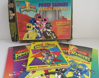 90s Vintage Power Rangers Coloring Books Boxed set 1994 The Mighty Morphins Power Ranger Action Figures Power rangers Activity Book Coloring
