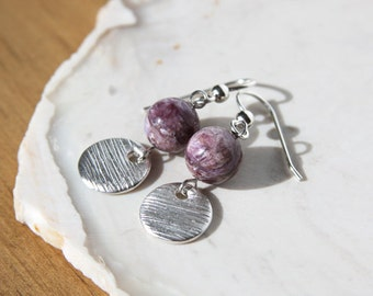 Purple Silver Earrings Charoite Natural Stone Beads Small Disc Woodgrain Texture Circle OOAK Handmade Recycled Silver Lilac Lavender #16481