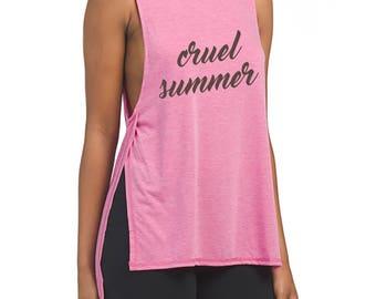 Cruel Summer - Pink Side Split Tank Top!