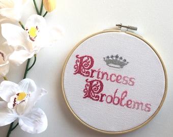 "Cross Stitch Princess Problems Pink Ombre Effect 6"" Hoop Art Wall Hanging"