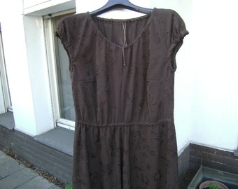 brown shortsleeves Dress, brown Dress with Piece of elastic, handmade Dress, Plus size Clothing, Dress XL, Dress with puff sleeves