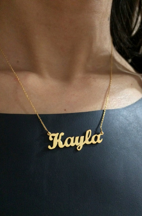 8K or 14K Gold Name Necklace Personalized Necklace Carrie