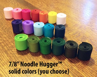 NOODLE HUGGER Non slip ribbon headband - Solid color (you choose) - 7/8 inch (running, working out, everyday: women and girls)