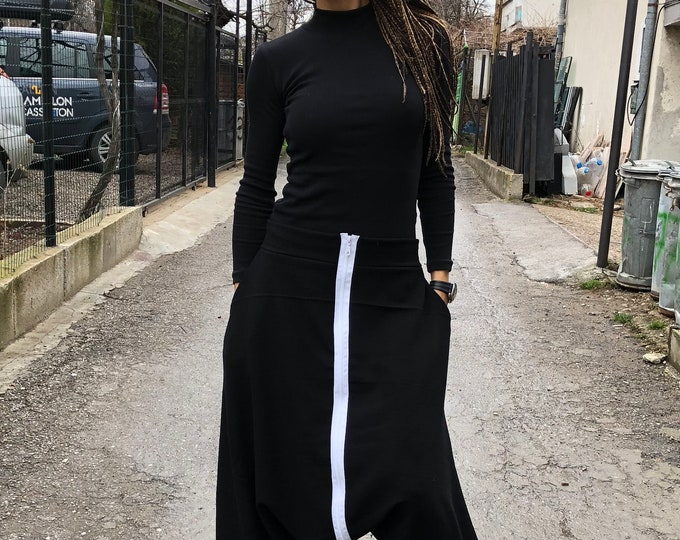 Black Loose Drop Crotch Harem Pants, Extravagant Trousers with Long Zipper, Maxi Double-sided Pants by SSDfashion