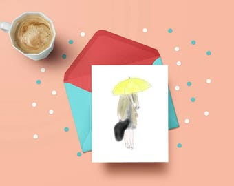 PRINTABLE greeting card, digital instant download, himym, mother, ted, watercolor art print, decor, yellow umbrella, legendary, rain, train