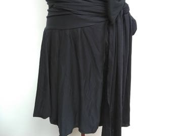 Black Jersey Asymmetric Wrap Skirt - Gathered Ruffle Tie Waist - Size 8 10 12