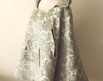 Velvet Baroque Cloak   Baroque Pattern Hoodie   Hooded Poncho   Upholstery Poncho   Hooded Capelet   Medieval Hobbit Cloak   Cosplay Cloak