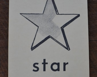 Vintage 1950s Educational Ephemera Scrapbooking Large Picture Print Flash Card - Star