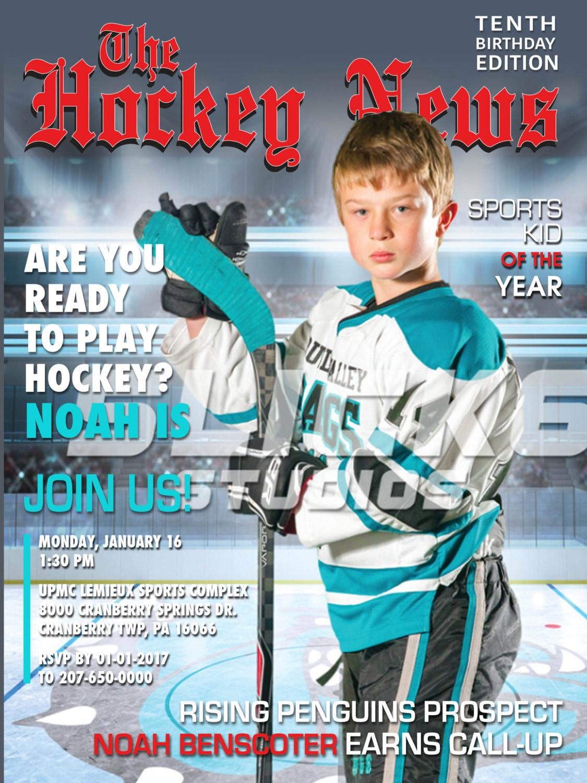 Hockey Magazine Cover Invitation Printable