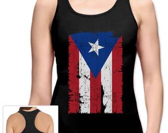 Vintage Distressed Puerto Rico Flag Racerback Tank Top