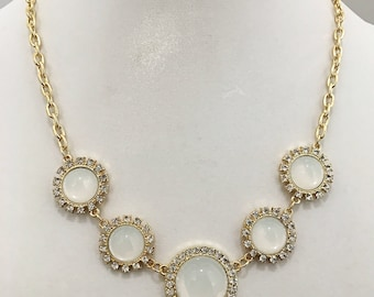 Gold and White Cabochon with Crystal Rhinestones Necklace / Gold Chain Bib Necklace.