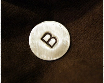 Golf Ball Marker- Brushed Sterling Handstamped for that Special Guy-Great Fathers Day Gift for Dad