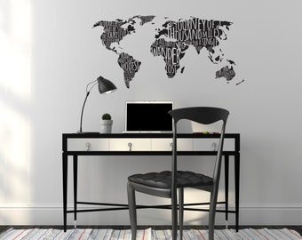 World Map Wall Mural Etsy - Custom vinyl wall decals for classrooms