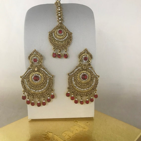 Aksa Gold and red diamanté earrings and tikka set Bollywood Pakistani bridal party hijab jewellery