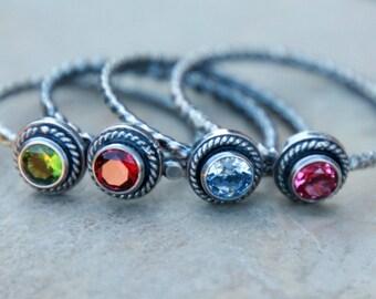 Birthstone Ring - Stacking Birthstone Ring - vintage style birthstone ring - stacking gemstone ring - stackable rings - stacking rings