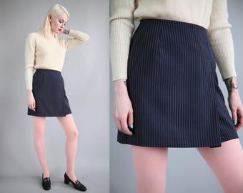 """Vtg 90s Navy & White Pinstripe Mini Skirt 25.5"""" Waist sz S"""