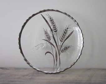 Footed Glass Plate with Silver Wheat Design
