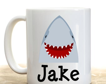 Shark Mug, Personalized Shark Cup,  Hot Chocolate  Mug, Childrens Personalized Gift ,  Birthday Gift, Christmas Gift, Holiday Gift