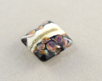 Black Cream Burgundy Lampwork Square Focal Bead, Glass Bead, 14mm Square Bead, One